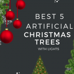 Artificial Christmas trees with lights